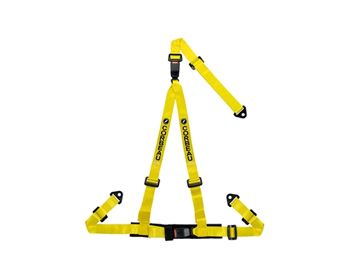 Corbeau Double Release Harness Belt Yellow 3 Point Bolt-In 43203B