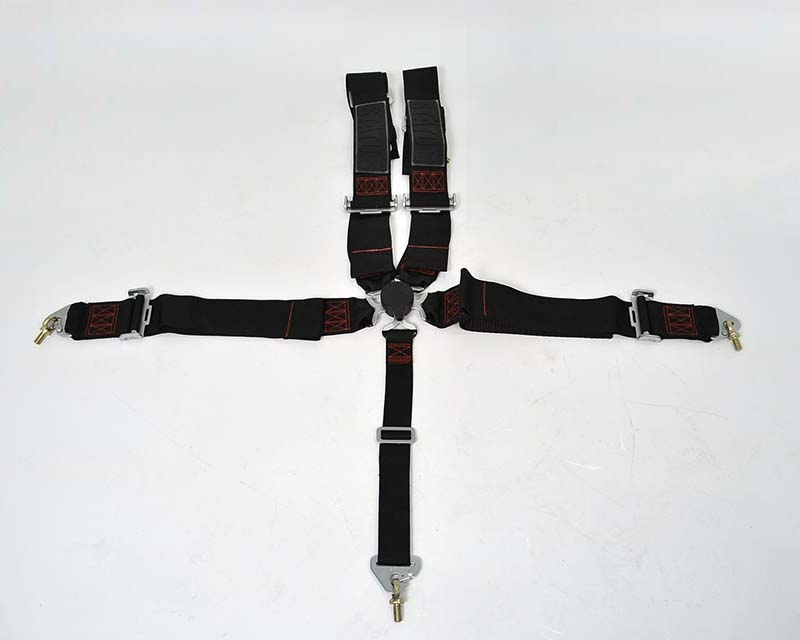 Status Racing 3 Inch 5 Point Cam Lock Harness Kit Black with Red Stitching - FIA Approved
