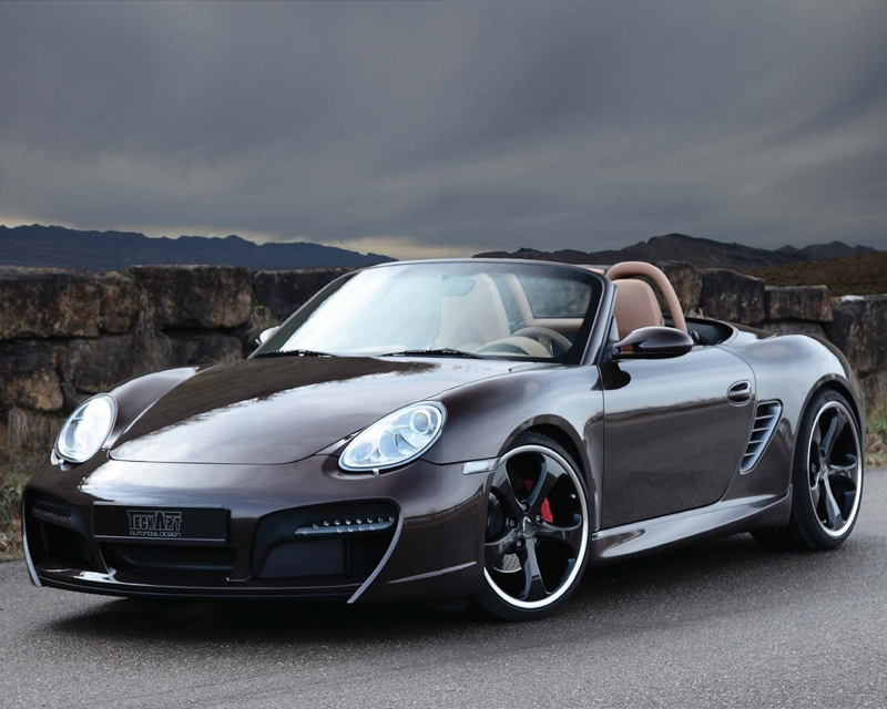 TechArt Front Spoiler Type 2 with Chrome Running Lights Porsche Boxster without OE DRL 05-12